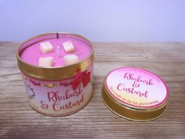 Rhubarb & Custard Highly Scented Candle Tin – can be personalised